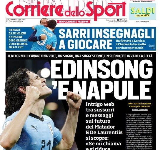 Il Corriere dello Sport sbatte Cavani in prima pagina