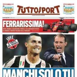 """PRIMA PAGINA – Tuttosport chiama Cr7: """"Oggi la Juve si ritrova, manchi solo tu"""""""