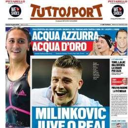 """PRIMA PAGINA – Tuttosport: """"Milinkovic, Juve o Real. Settimana di fuoco può coinvolgere Marcelo e Pjanic"""""""
