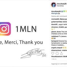 """FOTO – Koulibaly raggiunge 1 mln di Followers su Instagra: """"Grazie a tutti!"""""""