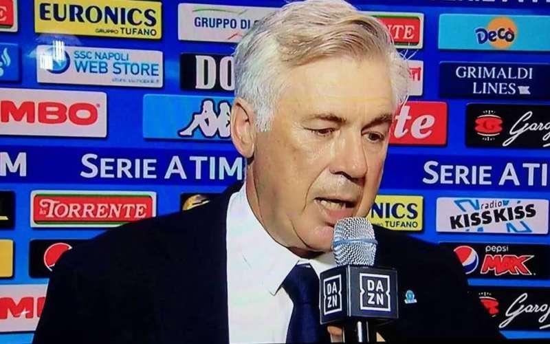 """Ancelotti a Dazn: """"Buona vittoria contro il Lecce. Bene Milik, Fabian non si muove. Vi dico perché Elmas si è innervosito"""""""