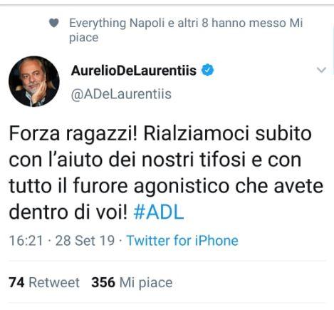 "Tweet e scaramanzia, De Laurentiis: ""Rialziamoci subito"""
