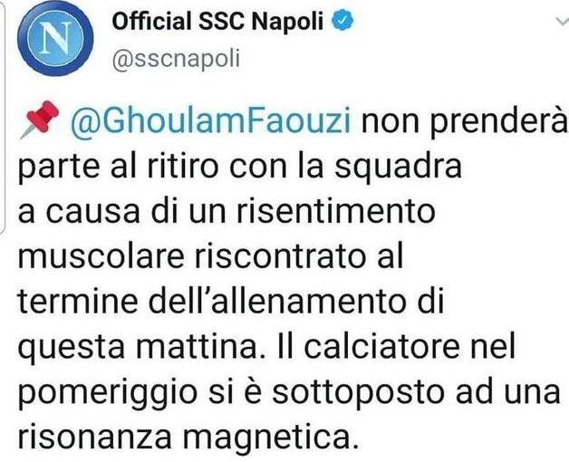 Napoli, Ghoulam escluso dai convocati per l'Atalanta