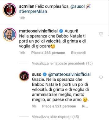 """Suso risponde a Salvini su instagram: """"Amministra meglio il paese"""""""