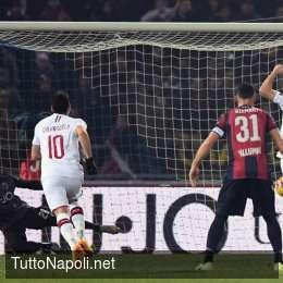 Milan avanti ma il Bologna resiste, è 2-1 all'intervallo