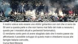 """""""Napoli Coronavirus"""", la Curva Nord del Brescia chiede scusa"""