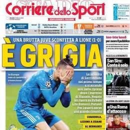 """PRIMA PAGINA – CdS: """"Juve brutta e deludente sconfitta a Lione"""""""