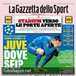"""PRIMA PAGINA – Gazzetta: """"Juve, dove sei? Litigio Bonucci-Matuidi. Con l'Inter verso le porte aperte"""""""