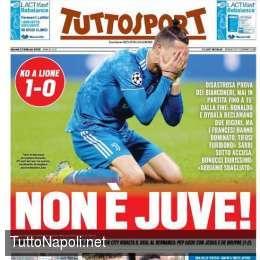 """PRIMA PAGINA – Tuttosport: """"Non è Juve! Disastrosa prova dei bianconeri"""""""