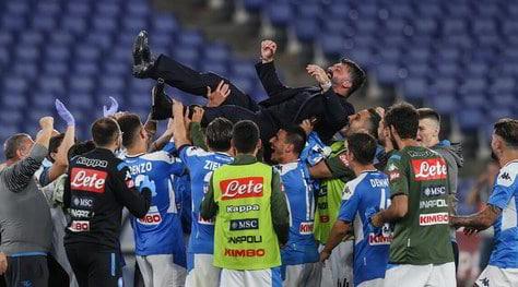 Il Napoli a cena per festeggiare la Coppa Italia