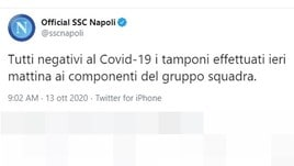 Napoli, Coronavirus: tutti negativi i tamponi alla squadra