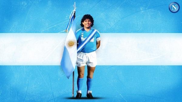 Napoli, Maradona con divisa azzurra e bandiera argentina: il motivo