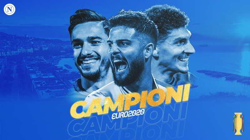 Italia campione d'Europa, il Napoli festeggia Insigne, Di Lorenzo e Meret
