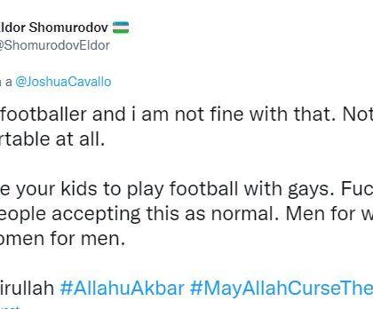 """L'omofobo Shomurodov contro il calciatore gay: """"Non vorrei giocare con gli omosessuali"""". E Twitter lo blocca"""
